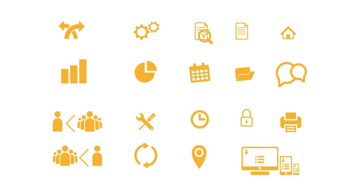 pictogrammes pour le site internet d'AGESSO, entreprise à Rennes