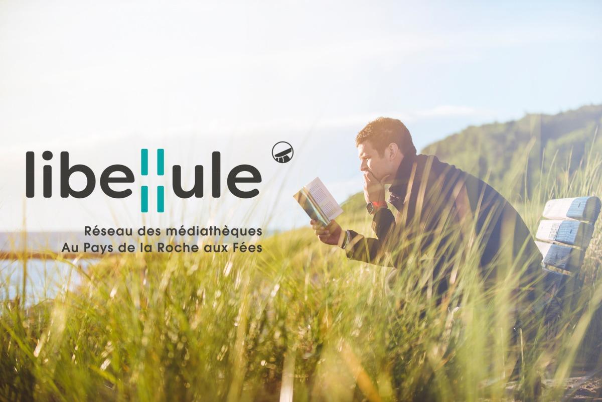 lecteur + logo du réseau des médiathèques LIBELLULE
